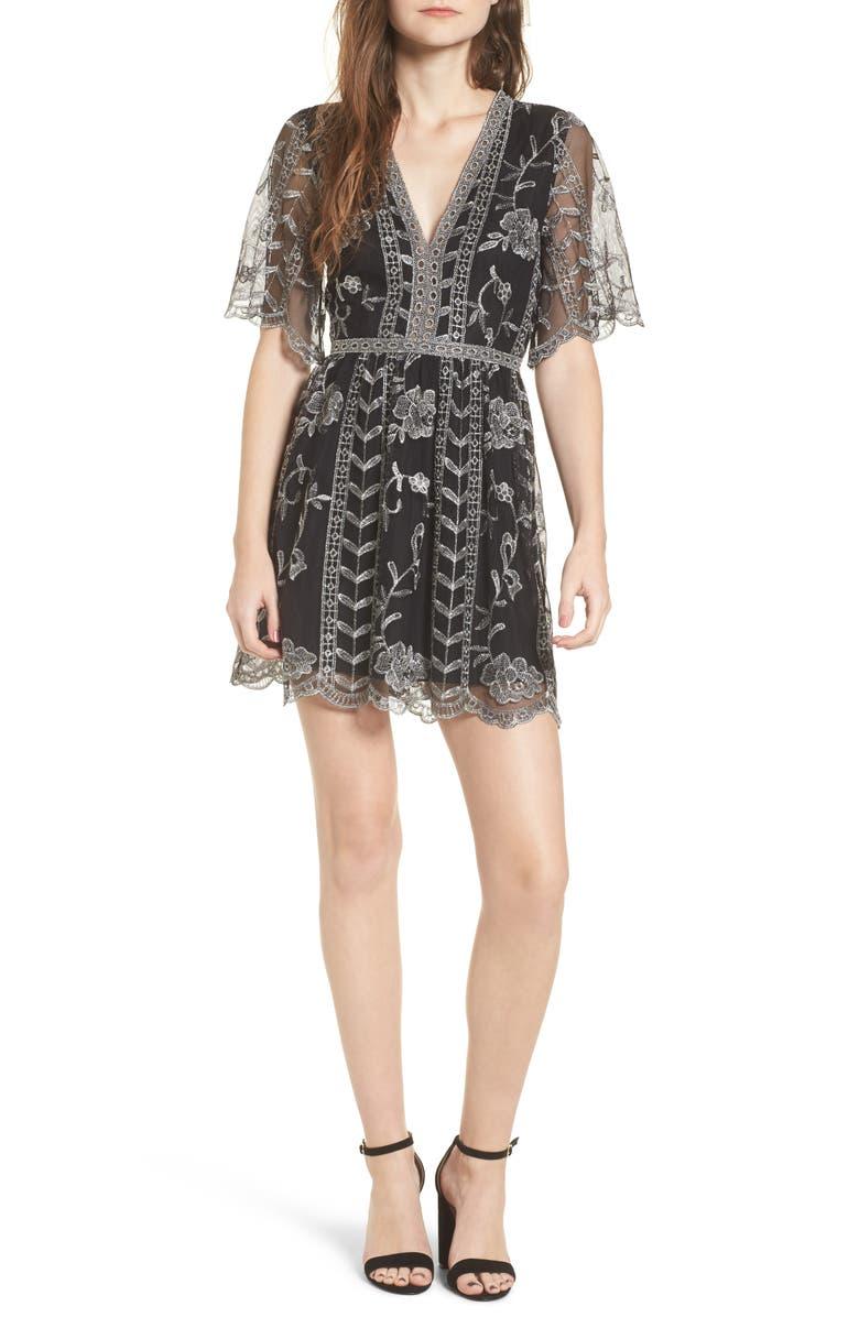 SOCIALITE Plunging Lace Dress, Main, color, 020