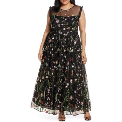 Plus Size Morgan & Co. Embroidered Mesh Evening Gown, Black