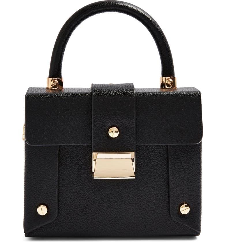 TOPSHOP Strobe Faux Leather Handbag, Main, color, BLACK