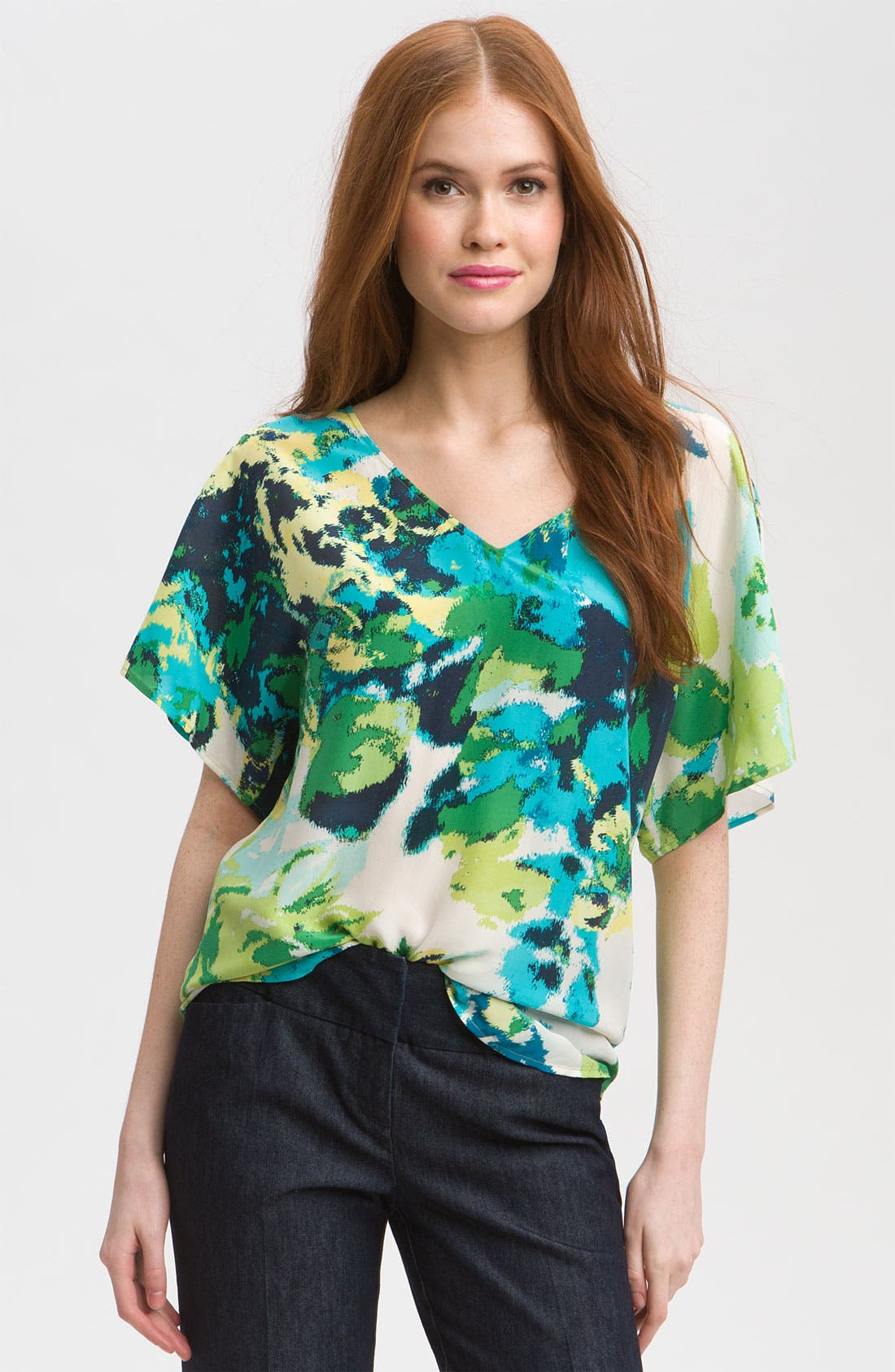 ,                             Relaxed V-Neck Top,                             Main thumbnail 1, color,                             440