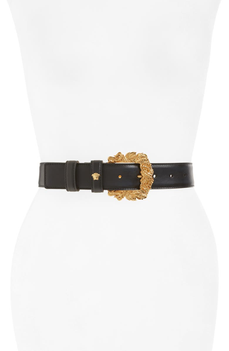 VERSACE FIRST LINE Tribute Leather Belt, Main, color, BLACK