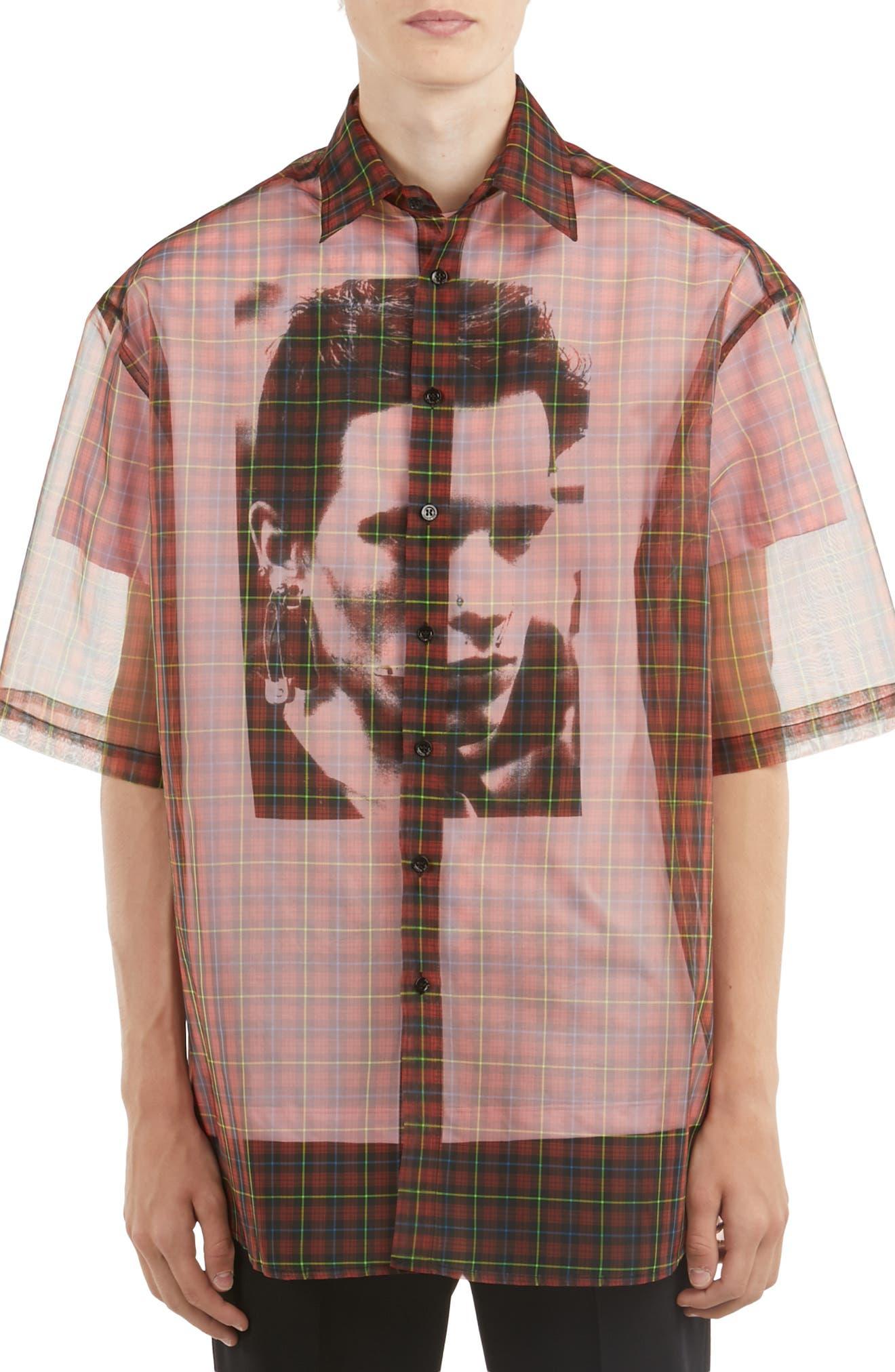 ,                             Sheer Plaid Shirt with T-Shirt,                             Main thumbnail 1, color,                             RED