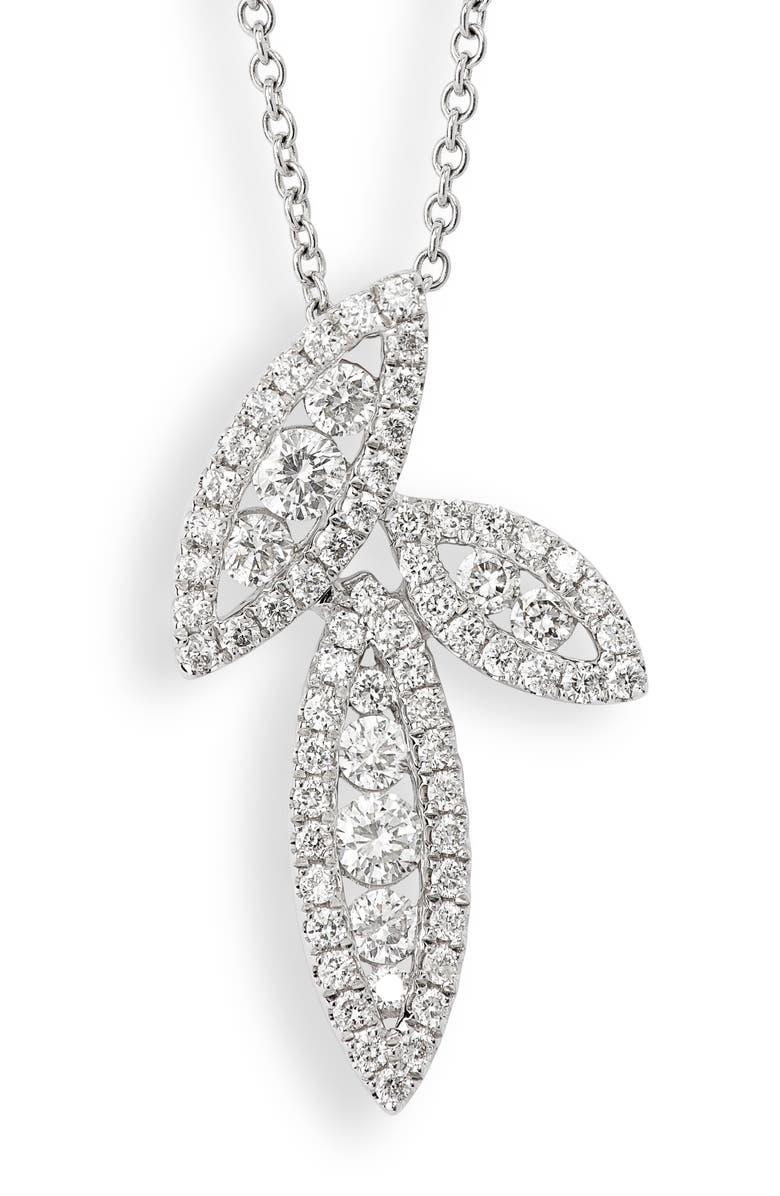BONY LEVY Audrey Diamond Marquise Pendant Necklace, Main, color, WHITE GOLD/ DIAMOND