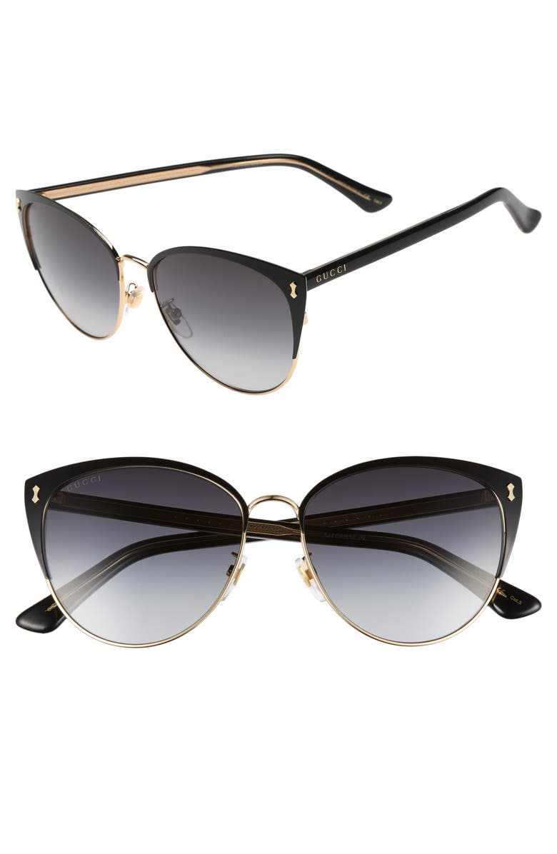 GUCCI 58mm Cat Eye Sunglasses, Main, color, BLACK