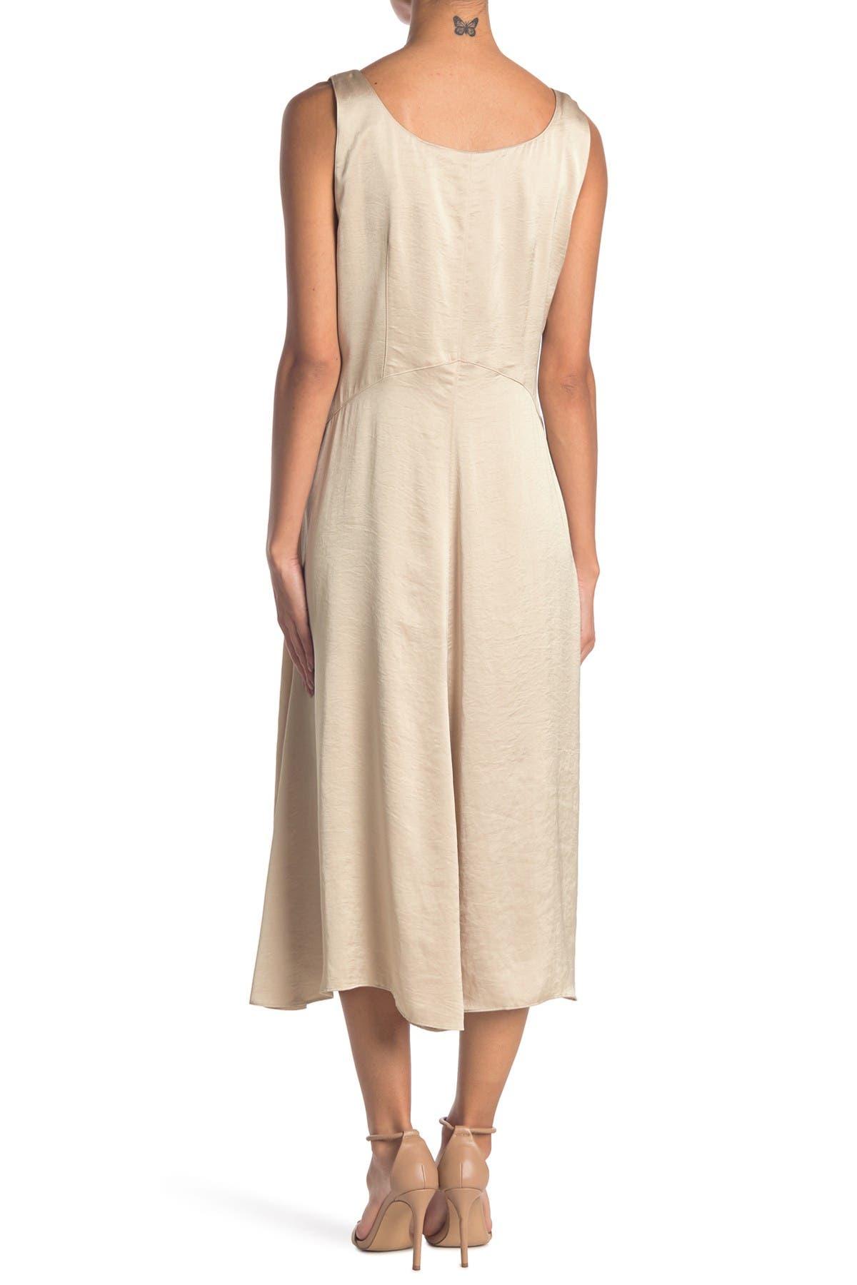 Elie Tahari Olive Satin Midi Dress