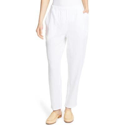 Eileen Fisher Tapered Organic Cotton Pants, White