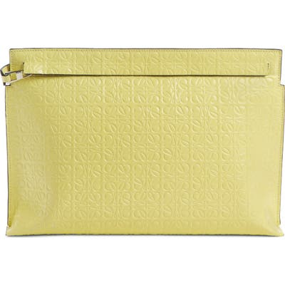 Loewe Repeat Logo Anagram Calfskin Leather T Pouch - Yellow