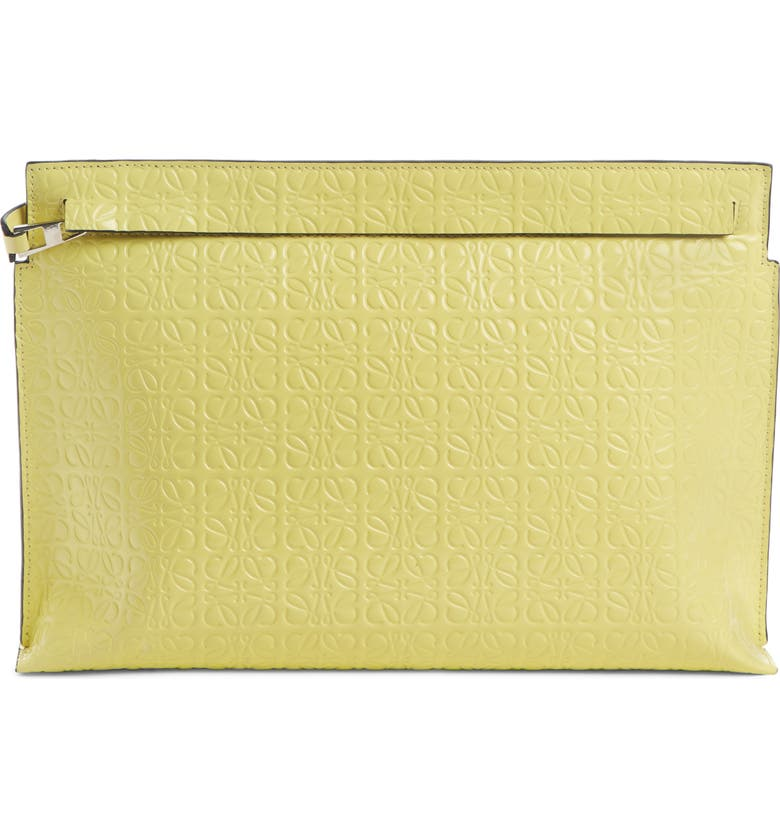 LOEWE Repeat Logo Anagram Calfskin Leather T Pouch, Main, color, YELLOW