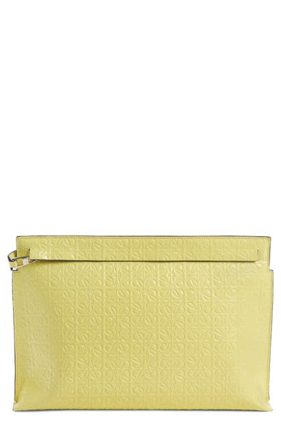 Loewe Beachwear REPEAT LOGO ANAGRAM CALFSKIN LEATHER T POUCH - YELLOW