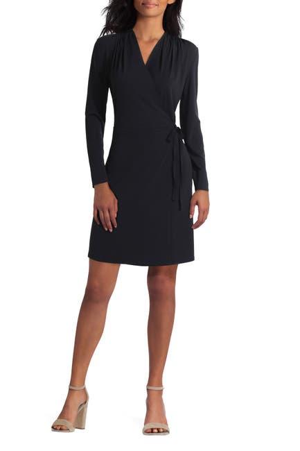 Image of H HALSTON Long Sleeve Wrap Dress