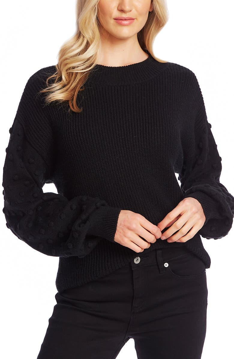 CECE Puff Sleeve Bobble Ribbed Sweater, Main, color, RICH BLACK
