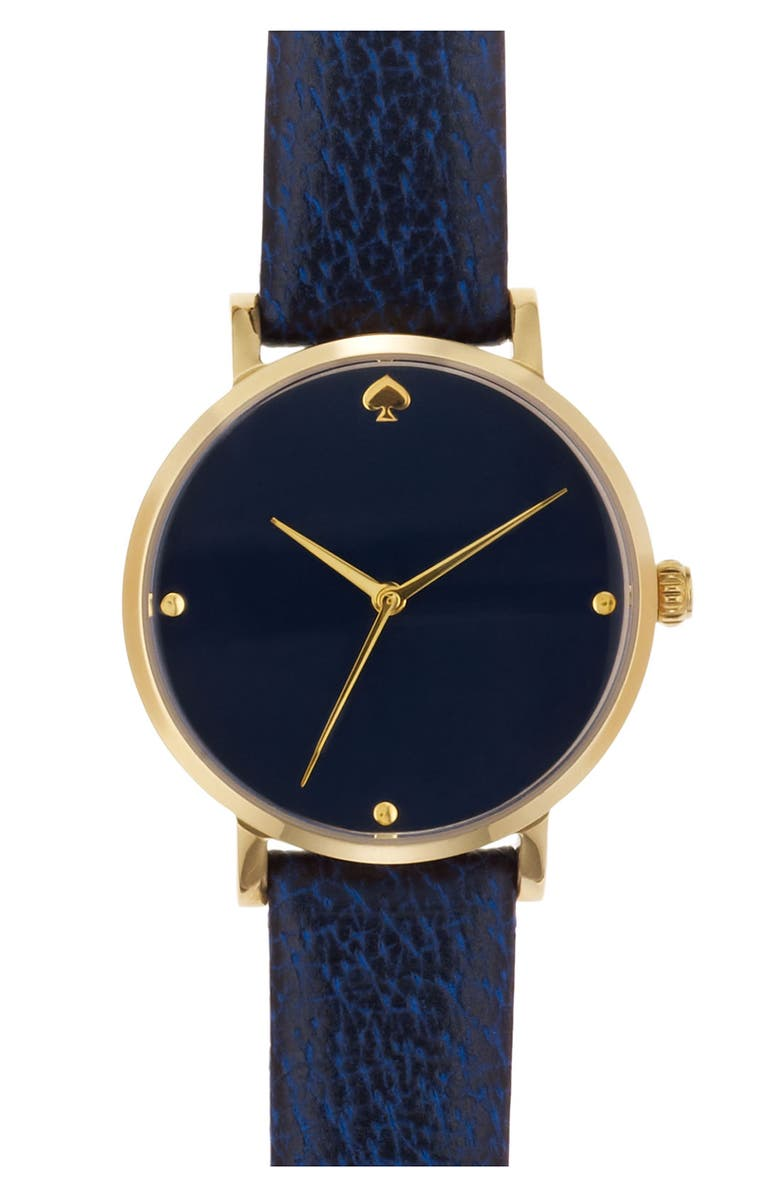 KATE SPADE NEW YORK 'metro' leather strap watch, Main, color, 400