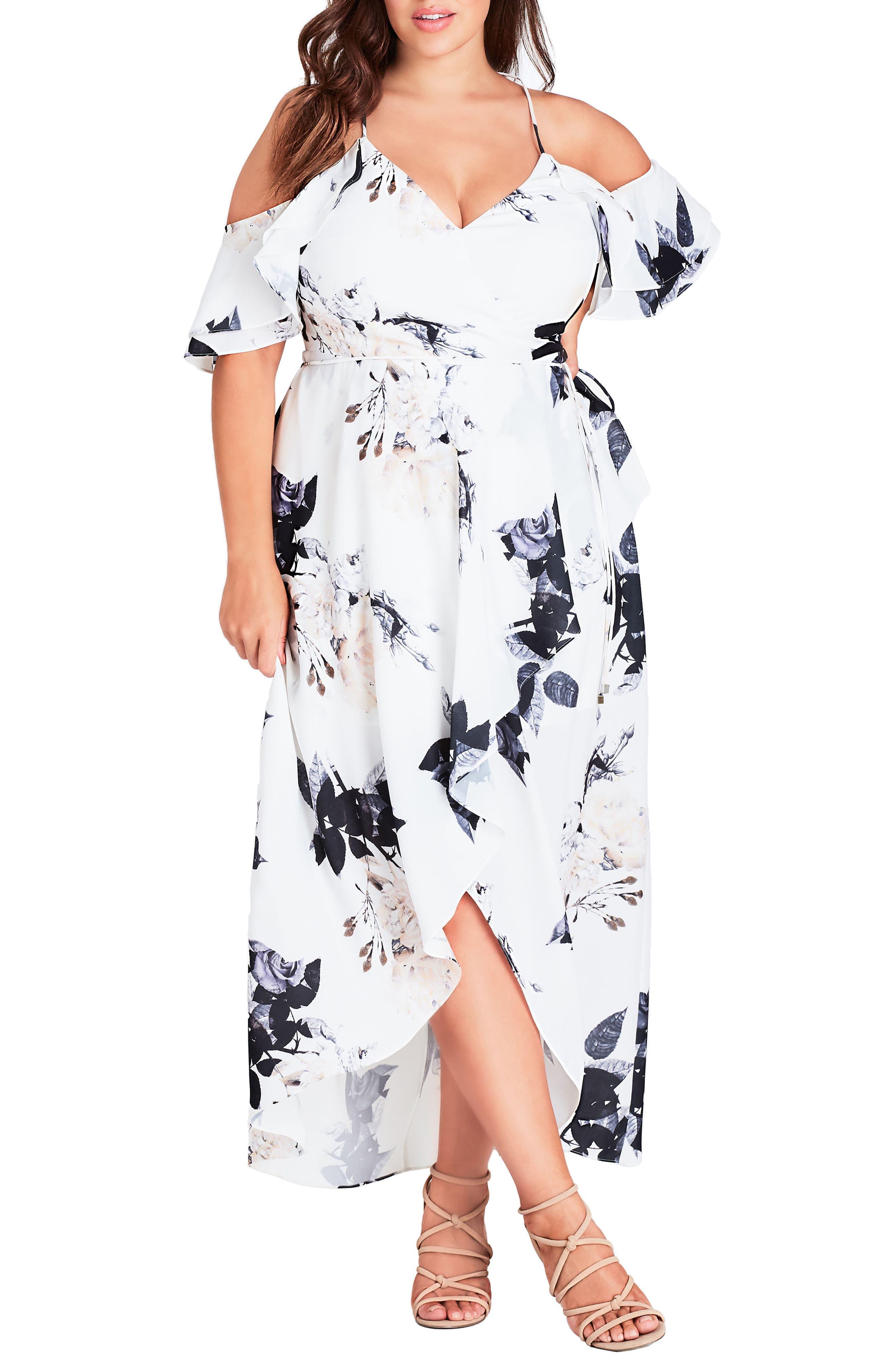 Plus Size City Chic Floral Print Ruffle Maxi Dress, White