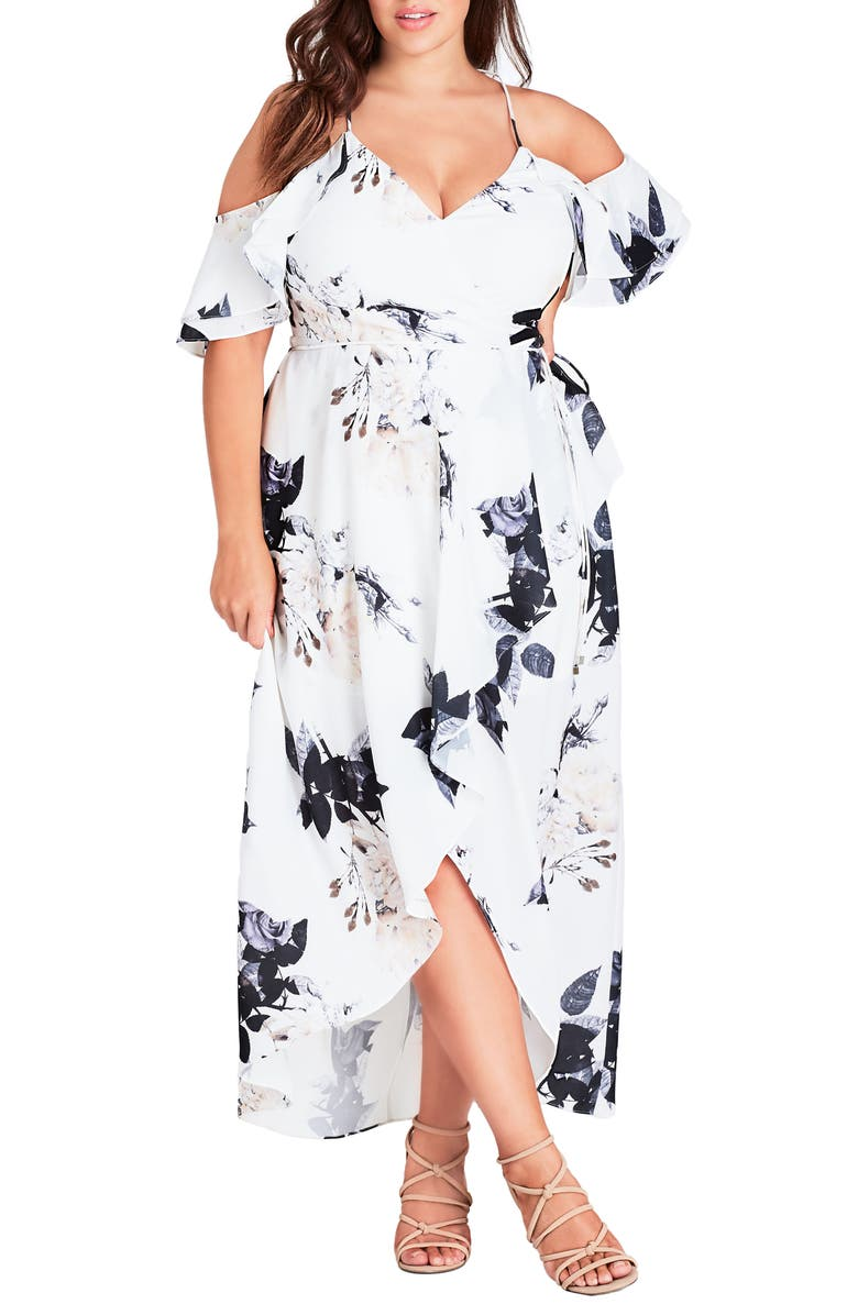 CITY CHIC Floral Print Ruffle Maxi Dress, Main, color, CREAM FLORAL