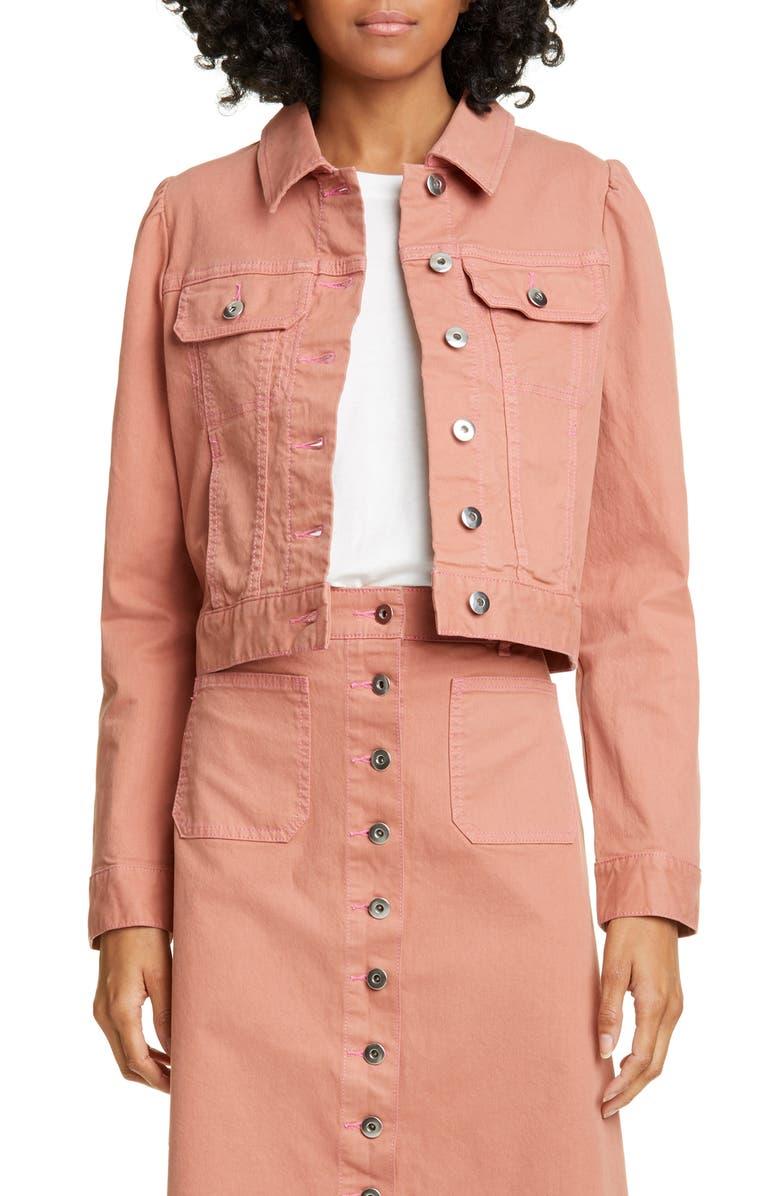 KATE SPADE NEW YORK crop denim jacket, Main, color, NEARLY NUDE