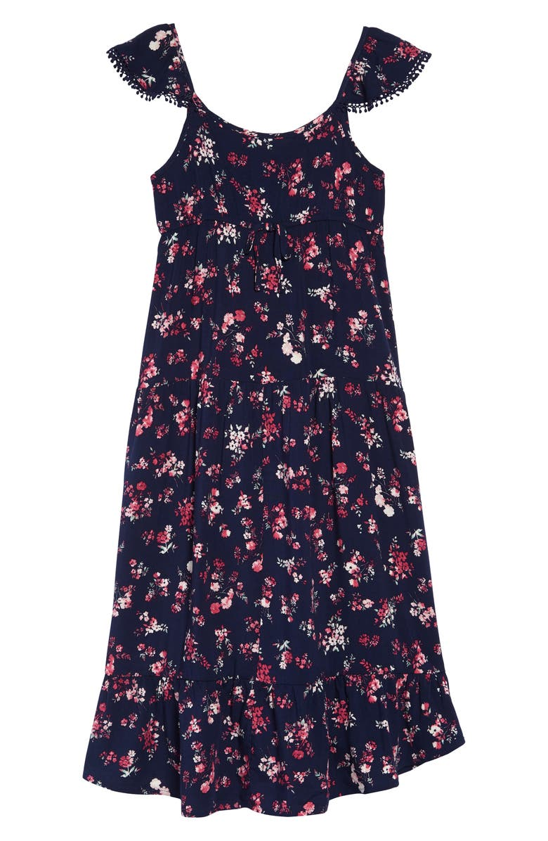 TEN SIXTY SHERMAN Floral Ruffle Hem Dress, Main, color, NAVY COMBO
