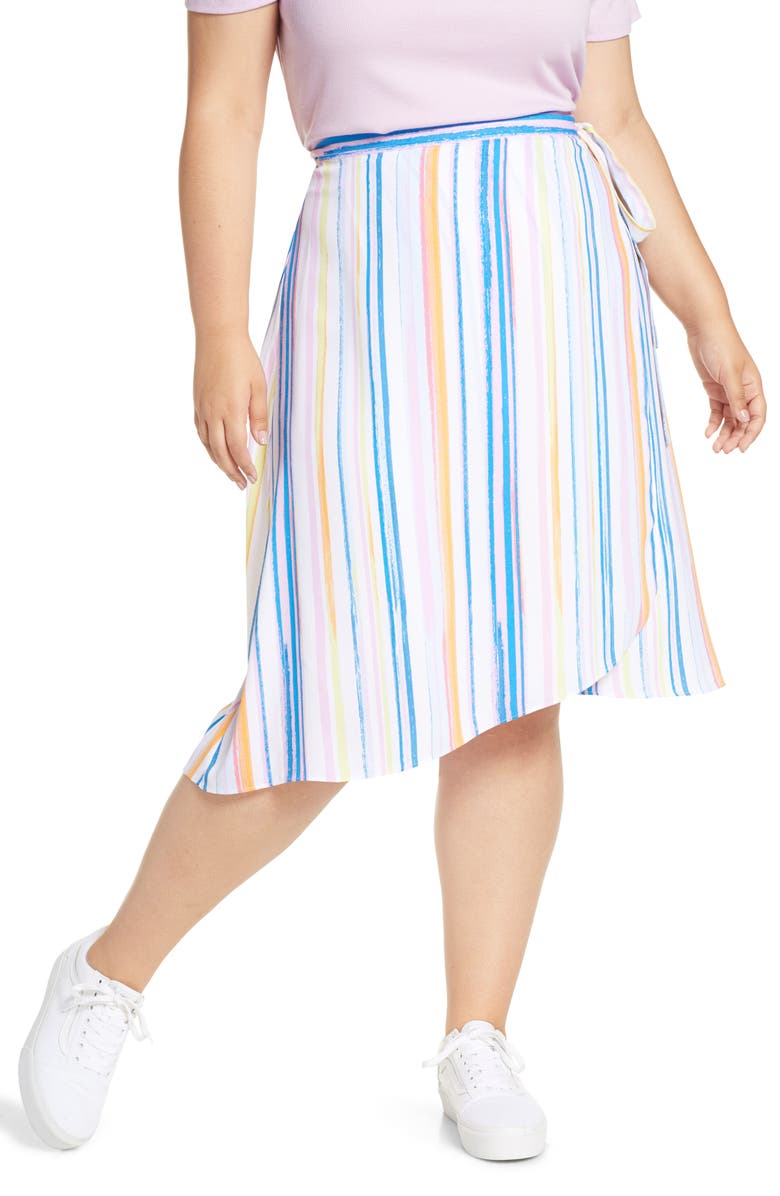 BP. Stripe Midi Wrap Skirt, Main, color, 450