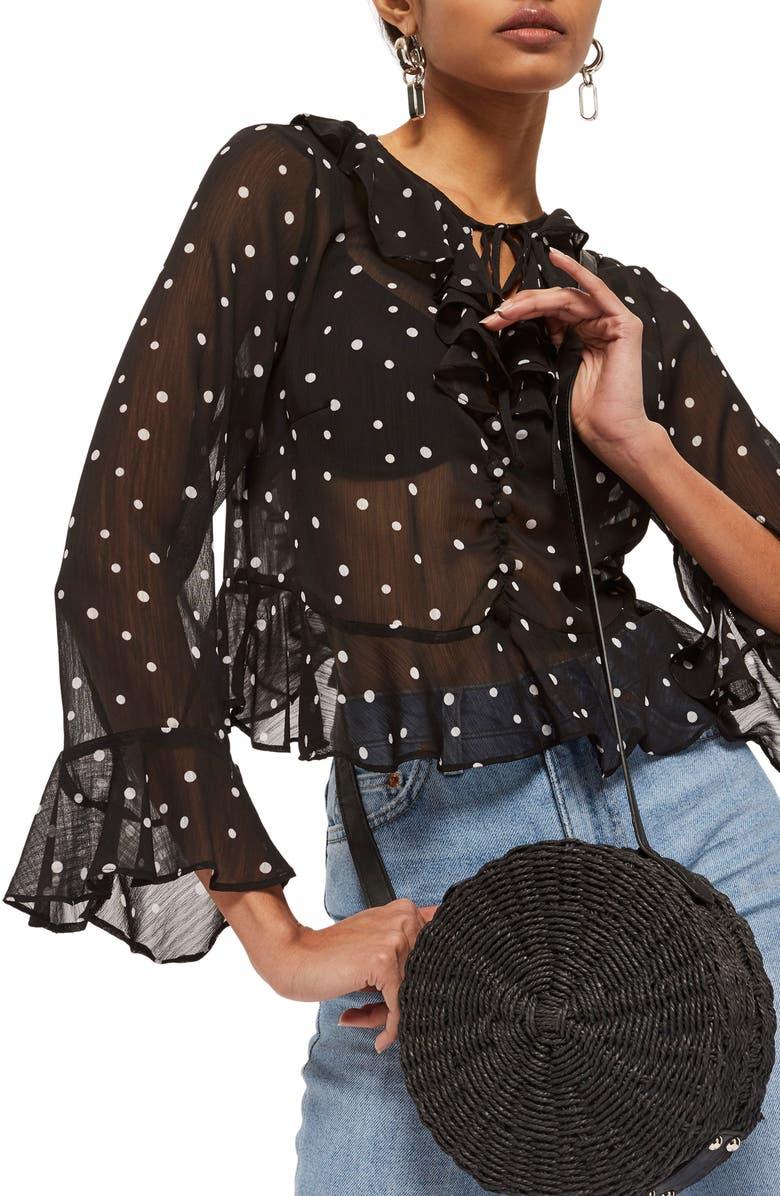 TOPSHOP Roxy Dot Ruffle Blouse, Main, color, 001