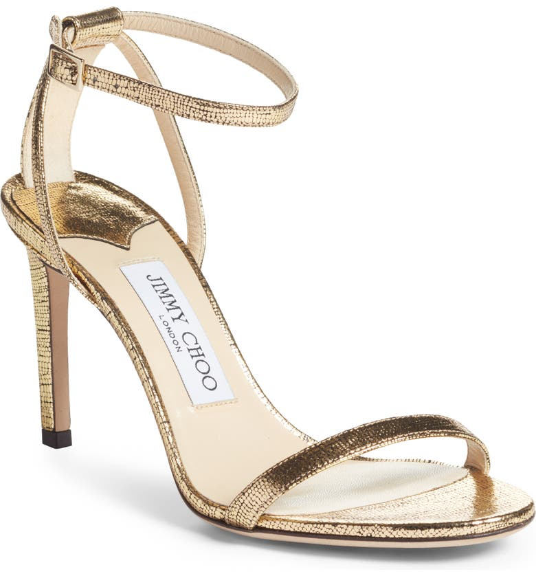 JIMMY CHOO Minny Metallic Sandal, Main, color, GOLD