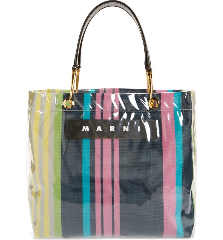 MARNI Glossy Stripe Tote Bag, Main, color, 650