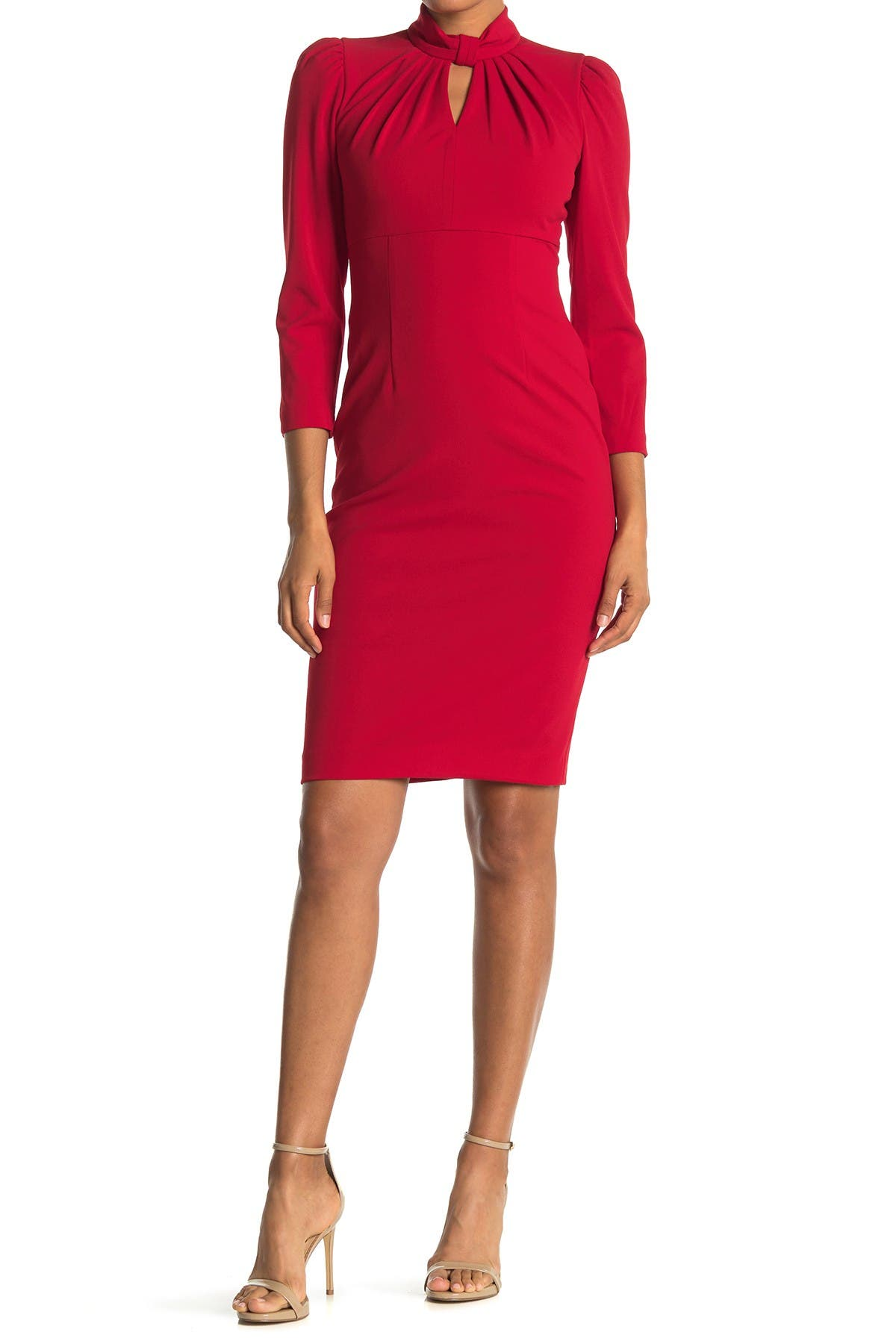 Image of Calvin Klein Mock Neck Keyhole 3/4 Sleeve Sheath Dress