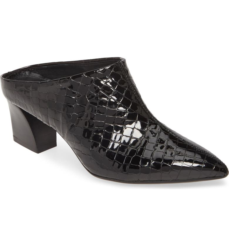 AGL Pointy Toe Mule, Main, color, BLACK CROCO