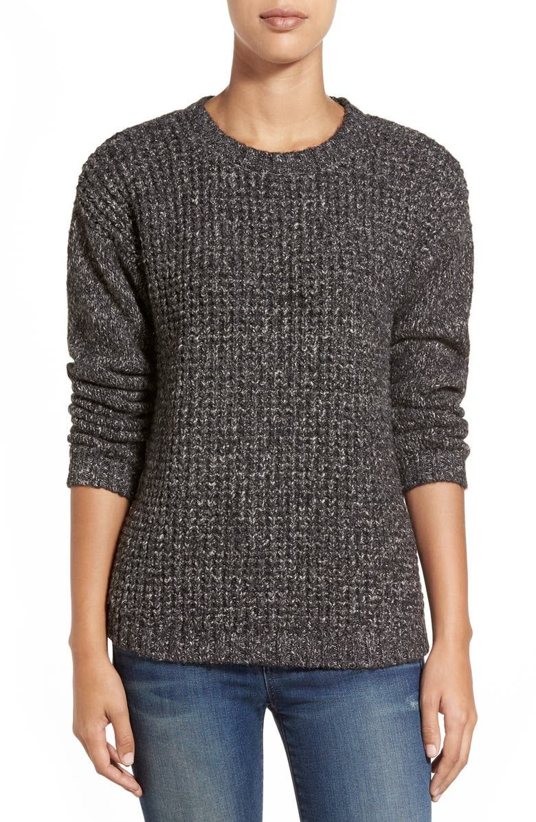 KENSIE Pleat Back Panel Mixed Media Sweater, Main, color, 064