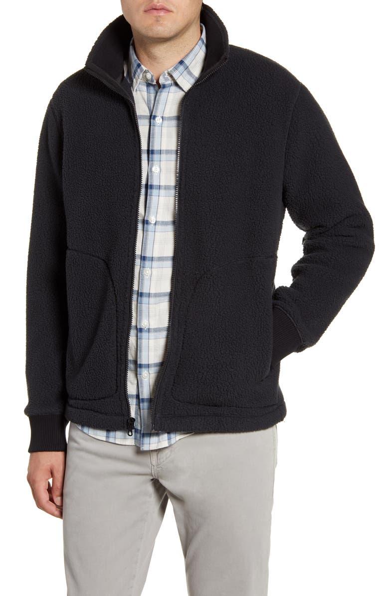 BONOBOS Slim Fit Fleece Jacket, Main, color, BLACK