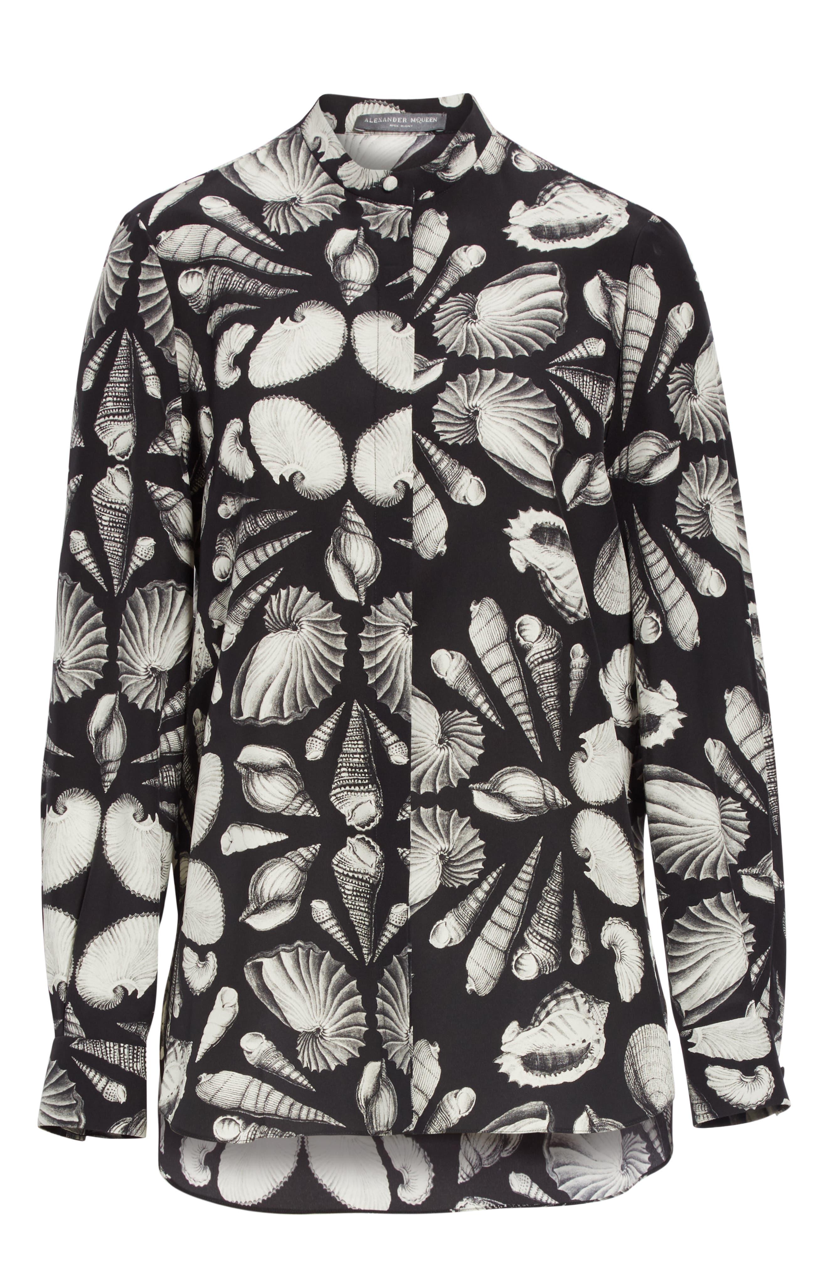 ,                             Cabinet of Shells Print Silk Blouse,                             Alternate thumbnail 7, color,                             1080 - BLACK IVORY