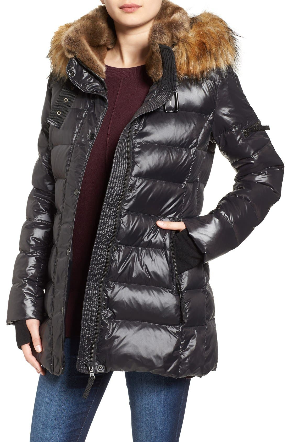 'Chelsea' Gloss Down Jacket with Removable Hood and Faux Fur Trim, Main, color, 002