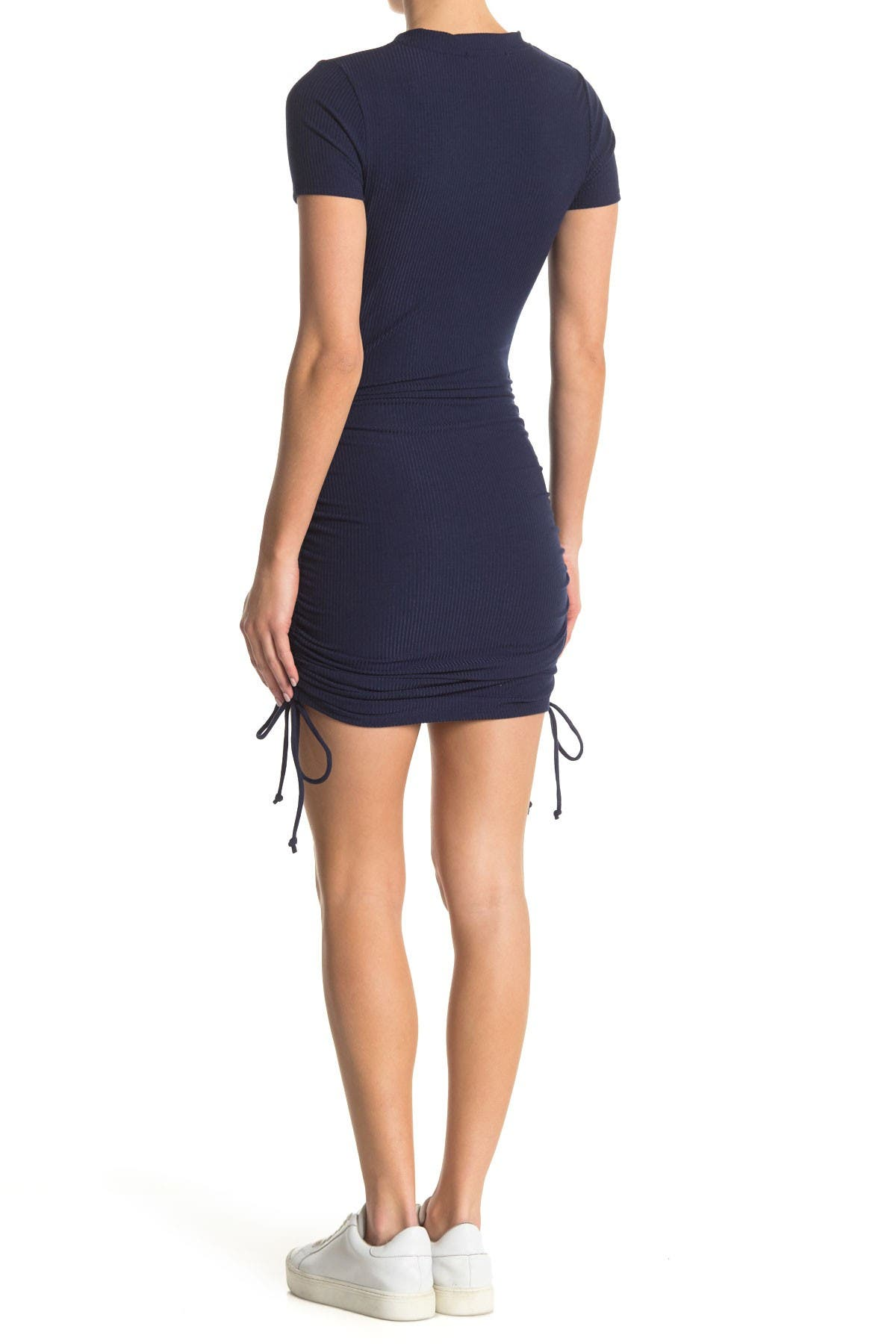 Image of KENEDIK Ruched Side Tie Short Sleeve Mini Dress