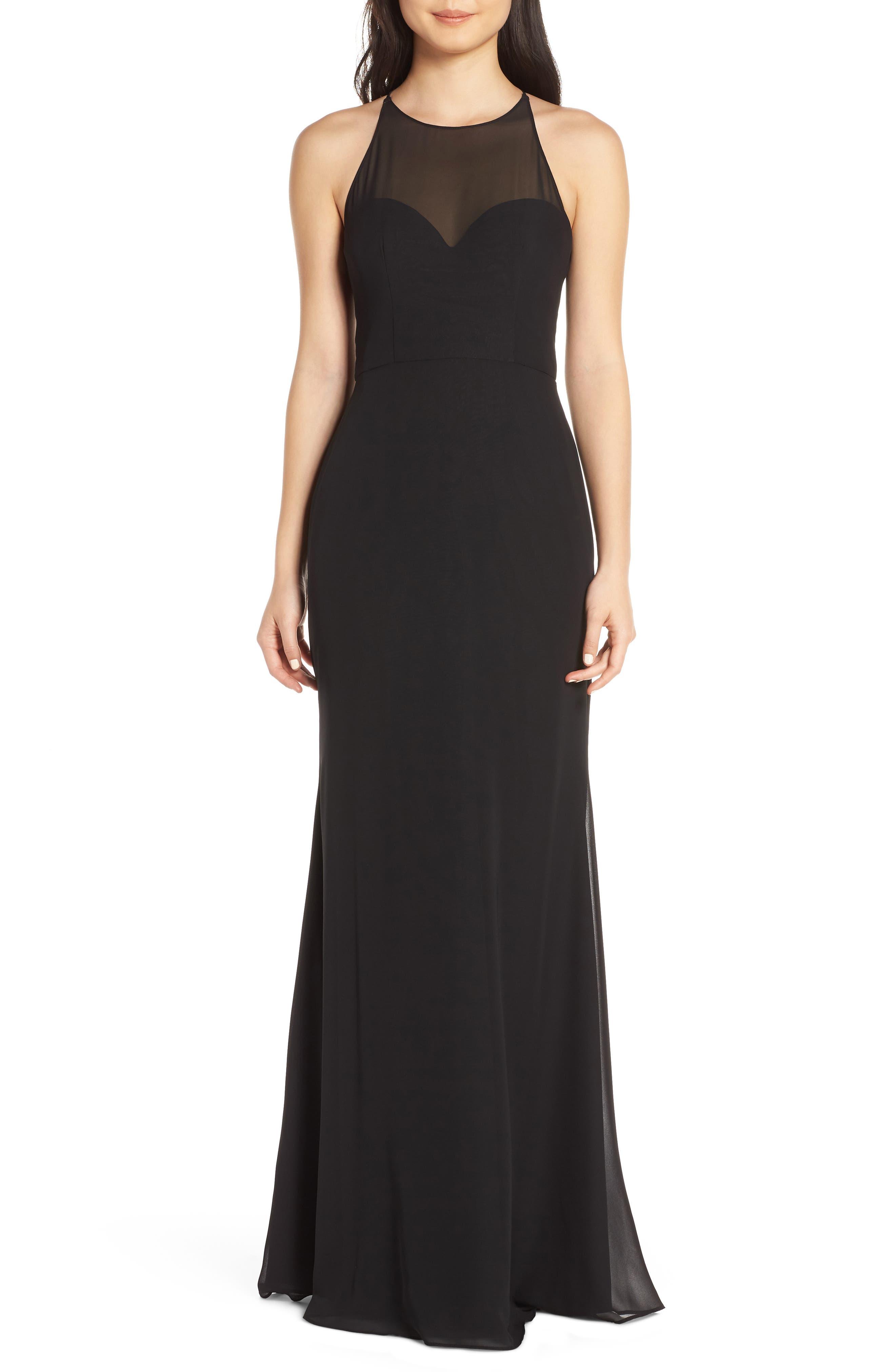 Hayley Paige Occasions Sheer Racerback Chiffon Evening Dress, Black