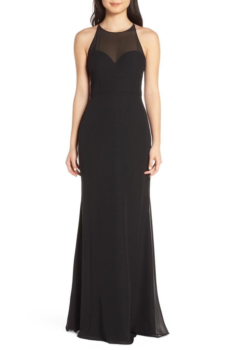 HAYLEY PAIGE OCCASIONS Sheer Racerback Chiffon Evening Dress, Main, color, 001
