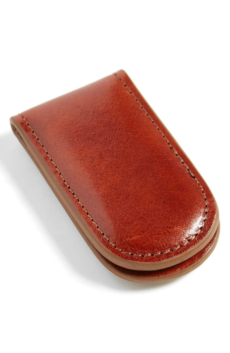 BOSCA Leather Money Clip, Main, color, AMBER