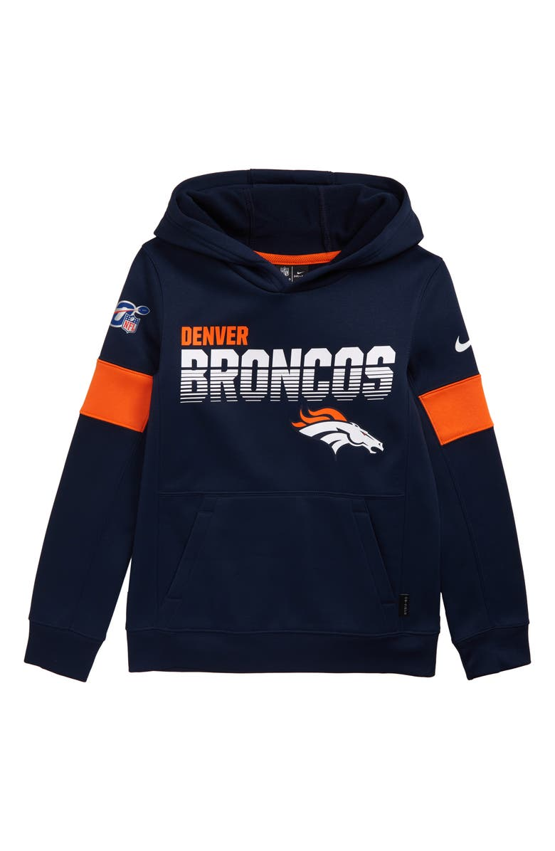 NIKE NFL Logo Denver Broncos Therma Dri-FIT Hoodie, Main, color, COLLEGE NAVY