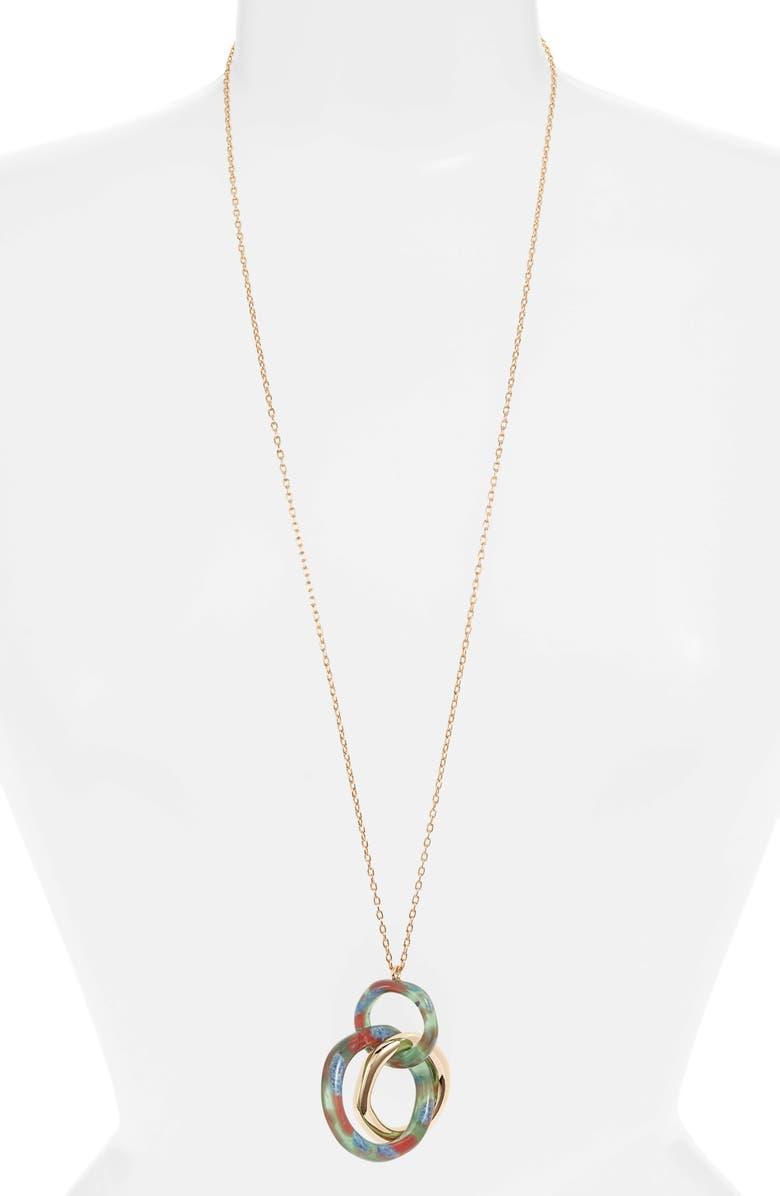 LELE SADOUGHI Triple Hoop Pendant Necklace, Main, color, LAUREL GREEN