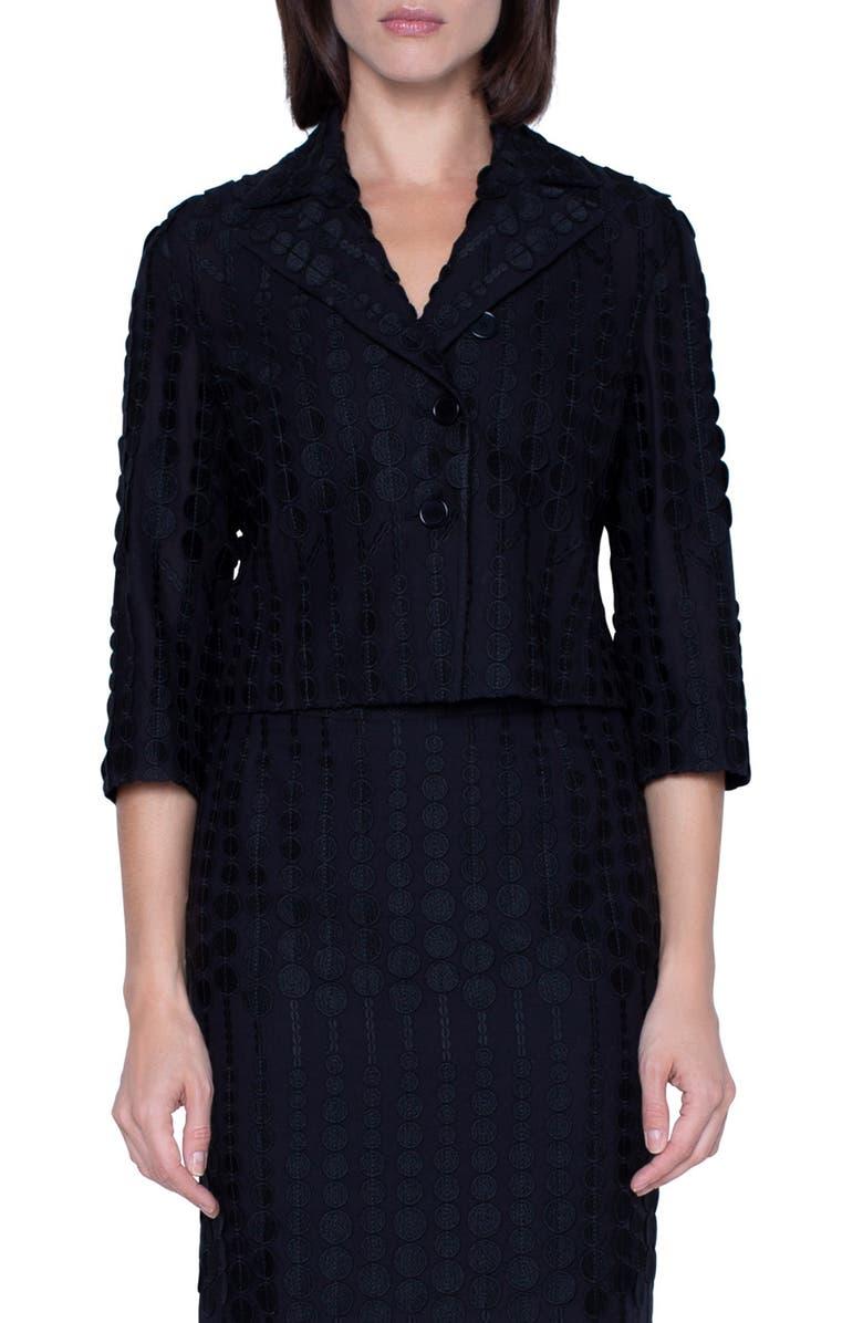 AKRIS PUNTO Embroidered Dot Crop Cotton Blend Jacket, Main, color, BLACK