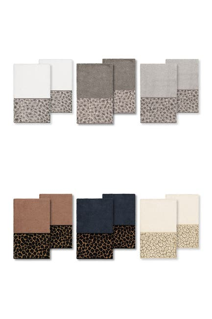 Image of LINUM HOME Spots Embellished Hand Towel - Set of 2 - Latte