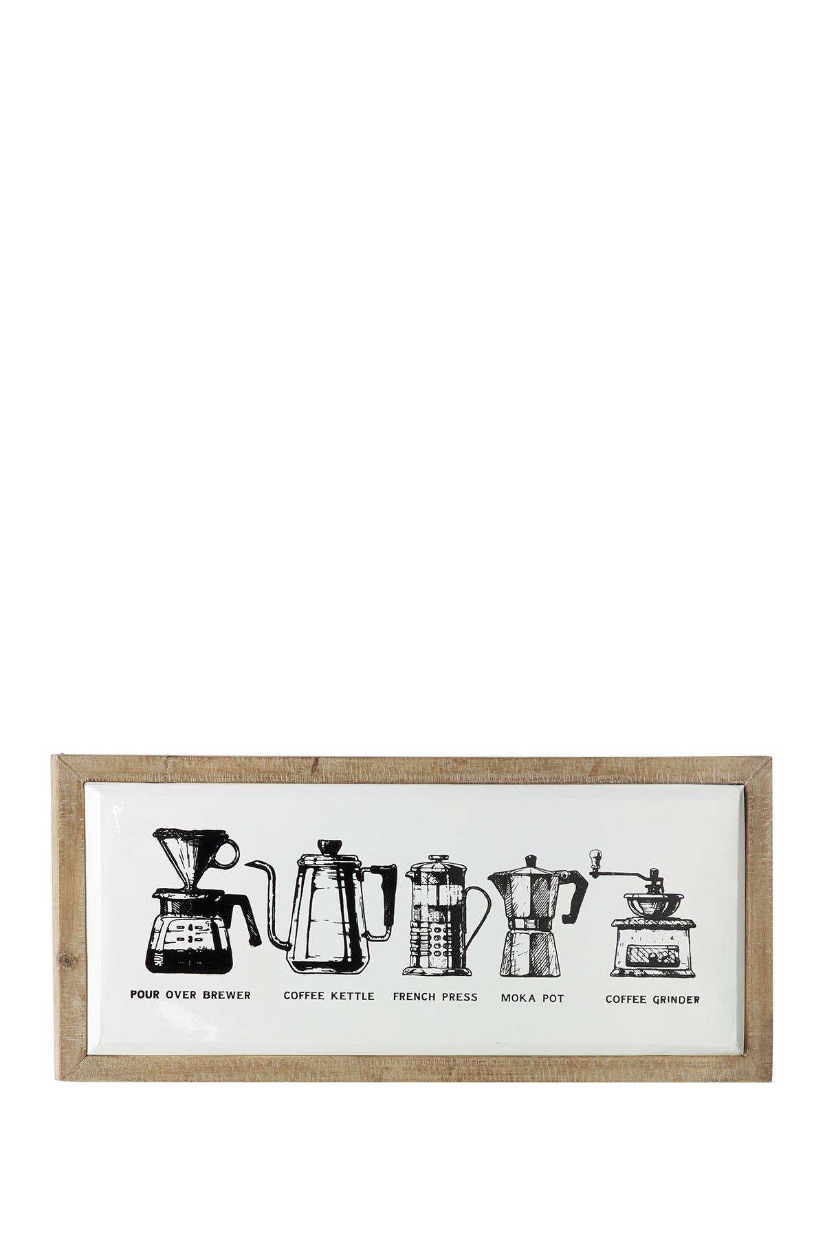 Image of Willow Row Rectangular Metal & Wood Coffee Sign Wall Decor