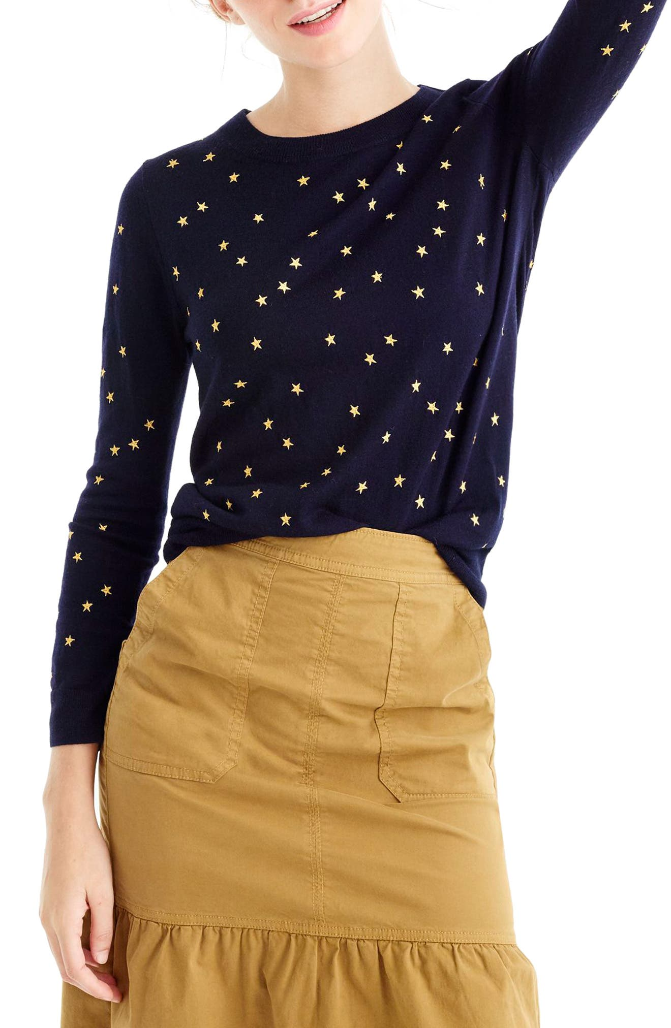 Tippi Embroidered Stars Sweater, Main, color, NAVY GOLD