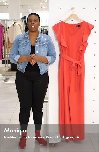 Flutter Sleeve Stretch Crepe Jumpsuit, sales video thumbnail