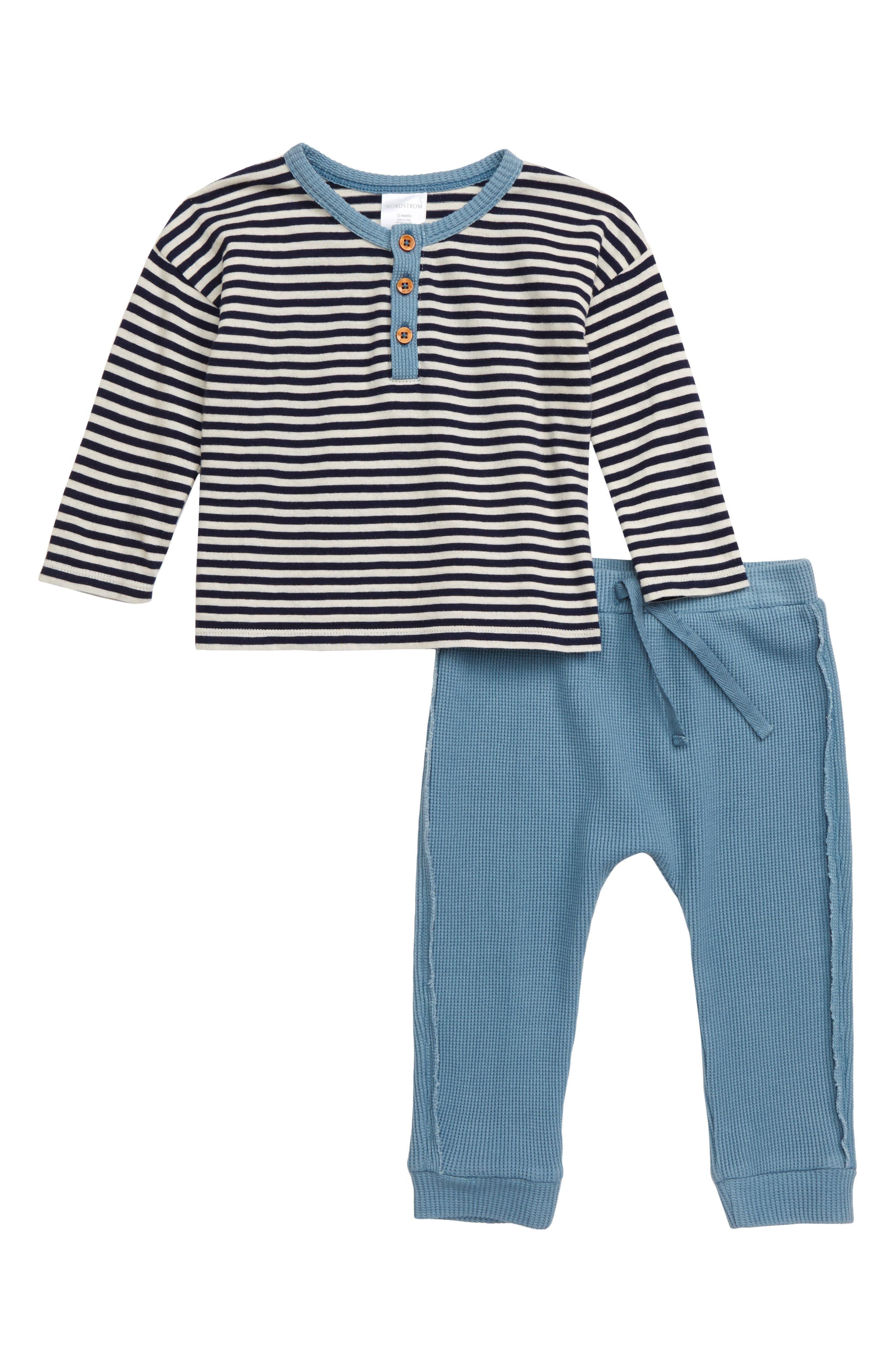 Infant Boys Nordstrom Baby Henley Shirt  Waffle Knit Pants Set