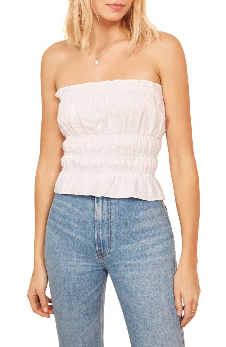 REFORMATION Gia Convertible Strap Linen Top, Main, color, WHITE