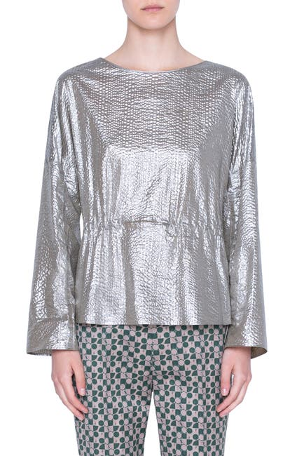 Image of Akris punto METALLIC COTTON SEERSUCKER BLO