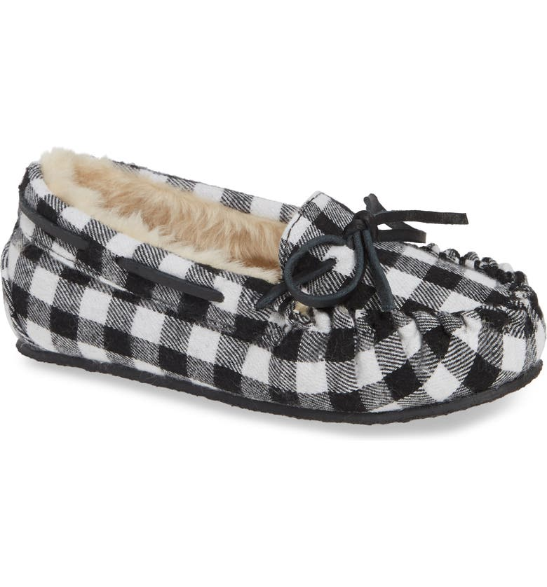 MINNETONKA 'Cassie' Slipper, Main, color, BLACK PLAID