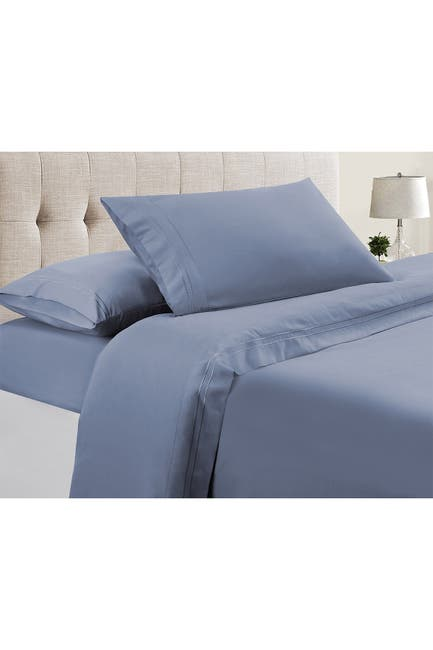 Image of Modern Threads Manor Ridge Luxury 100 GSM Brushed Microfiber Extra Soft Hypoallergenic 4-Piece Double Marrow Hem Sheet Set, Denim Blue - Queen
