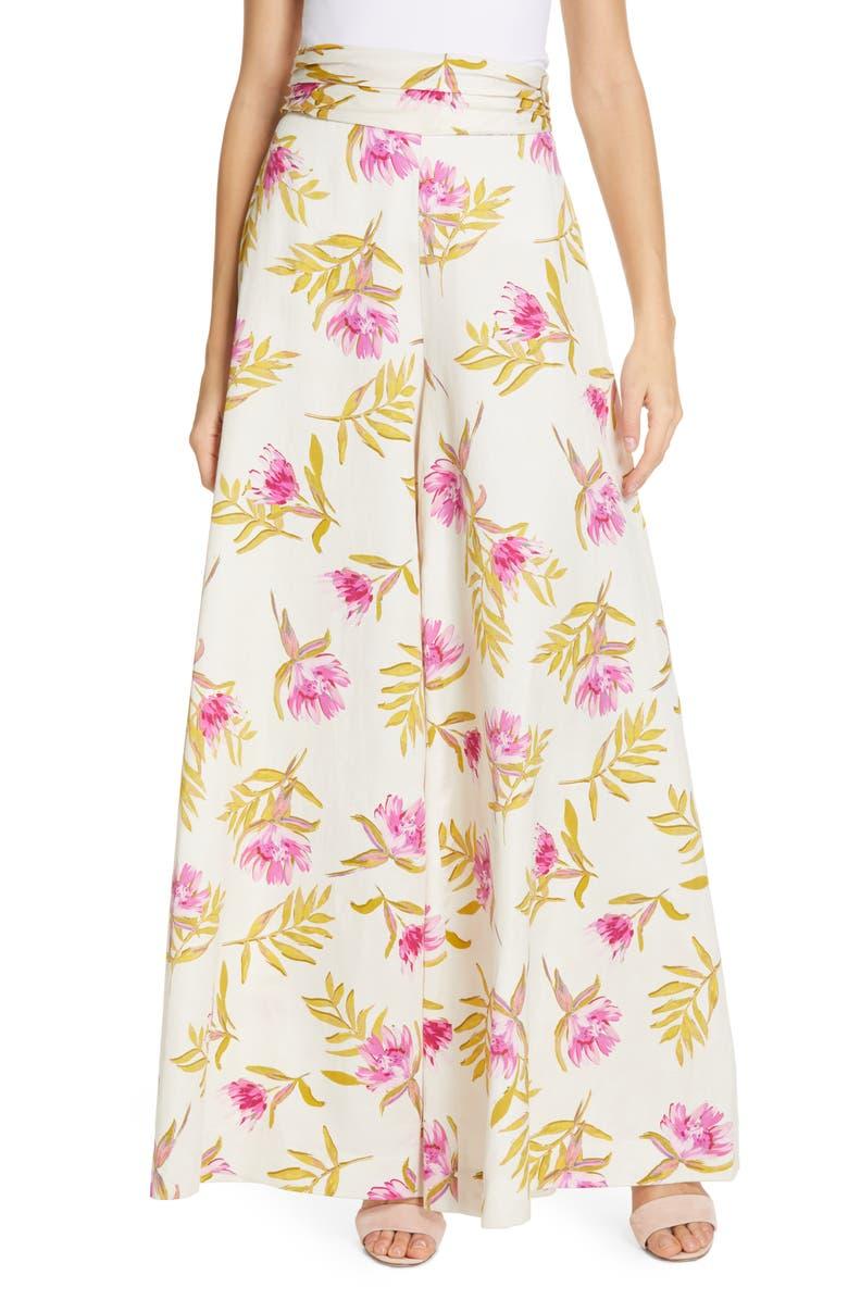 AMUR Aubry Floral Print Organic Linen & Cotton Pants, Main, color, 900