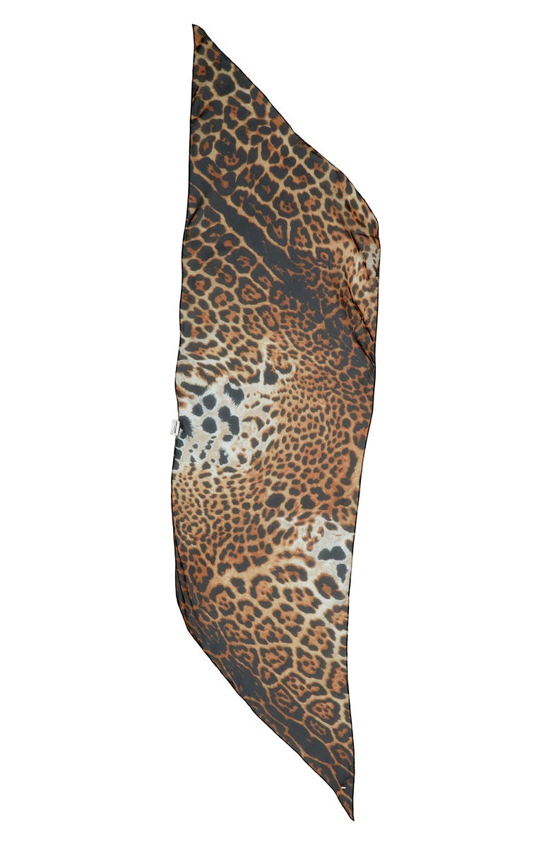 SAINT LAURENT Animal Print Silk Scarf, Main, color, BEIGE/ NOIR