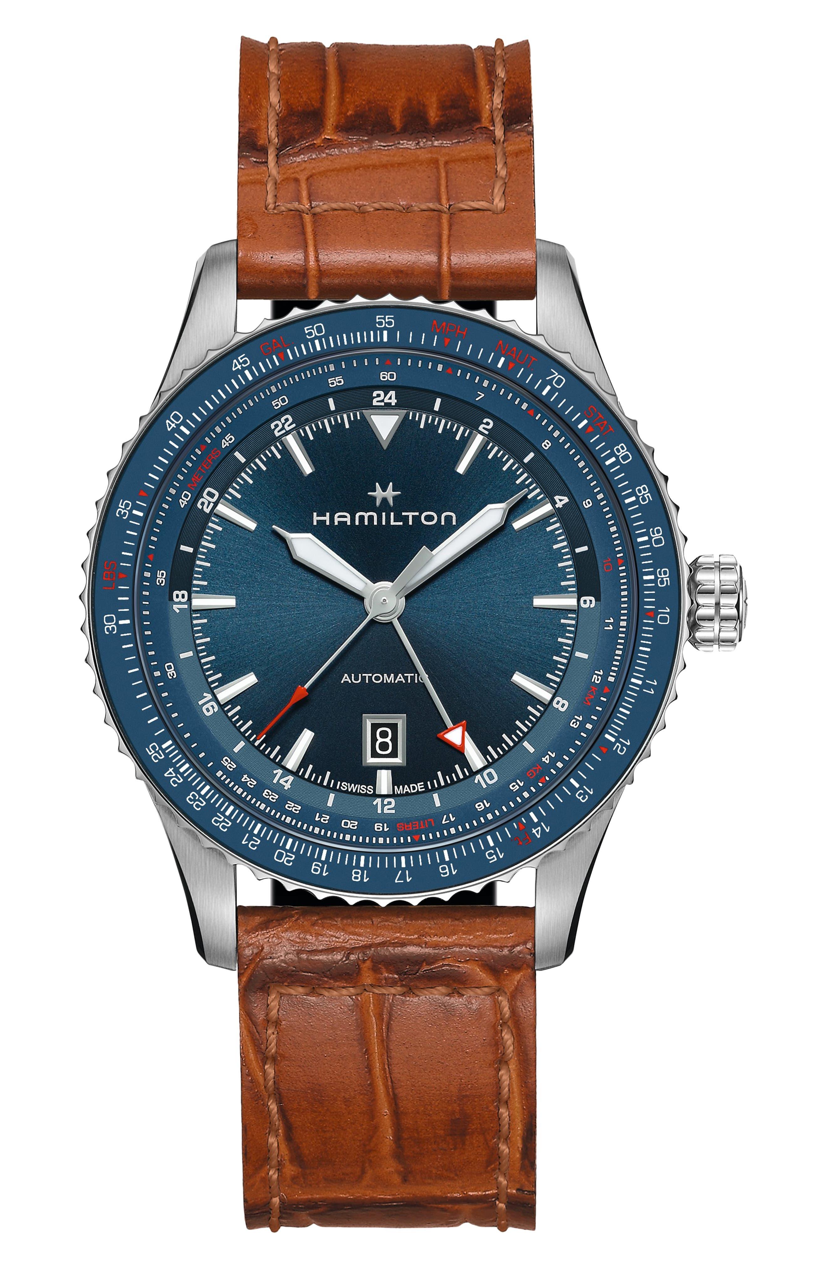 Khaki Aviation Converter Gmt Automatic Leather Strap Watch