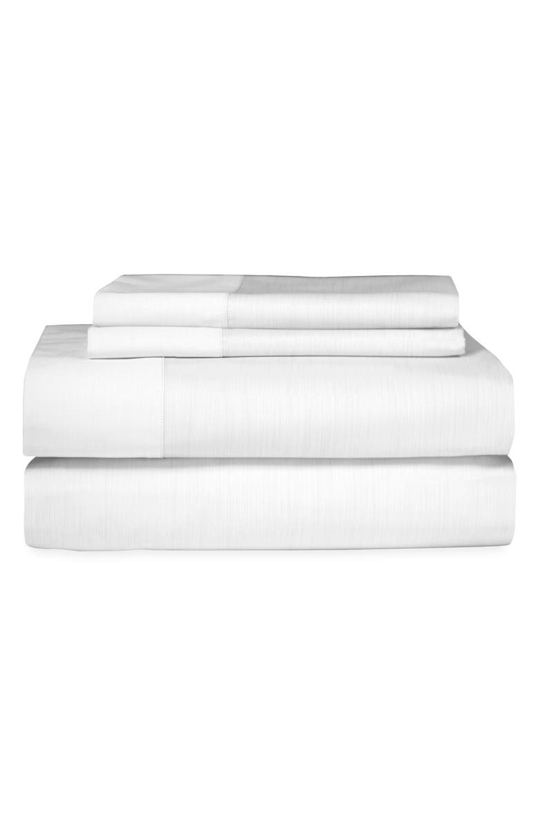 MICHAEL ARAM Striated Band 400 Thread Count Fitted Sheet, Main, color, WHITE